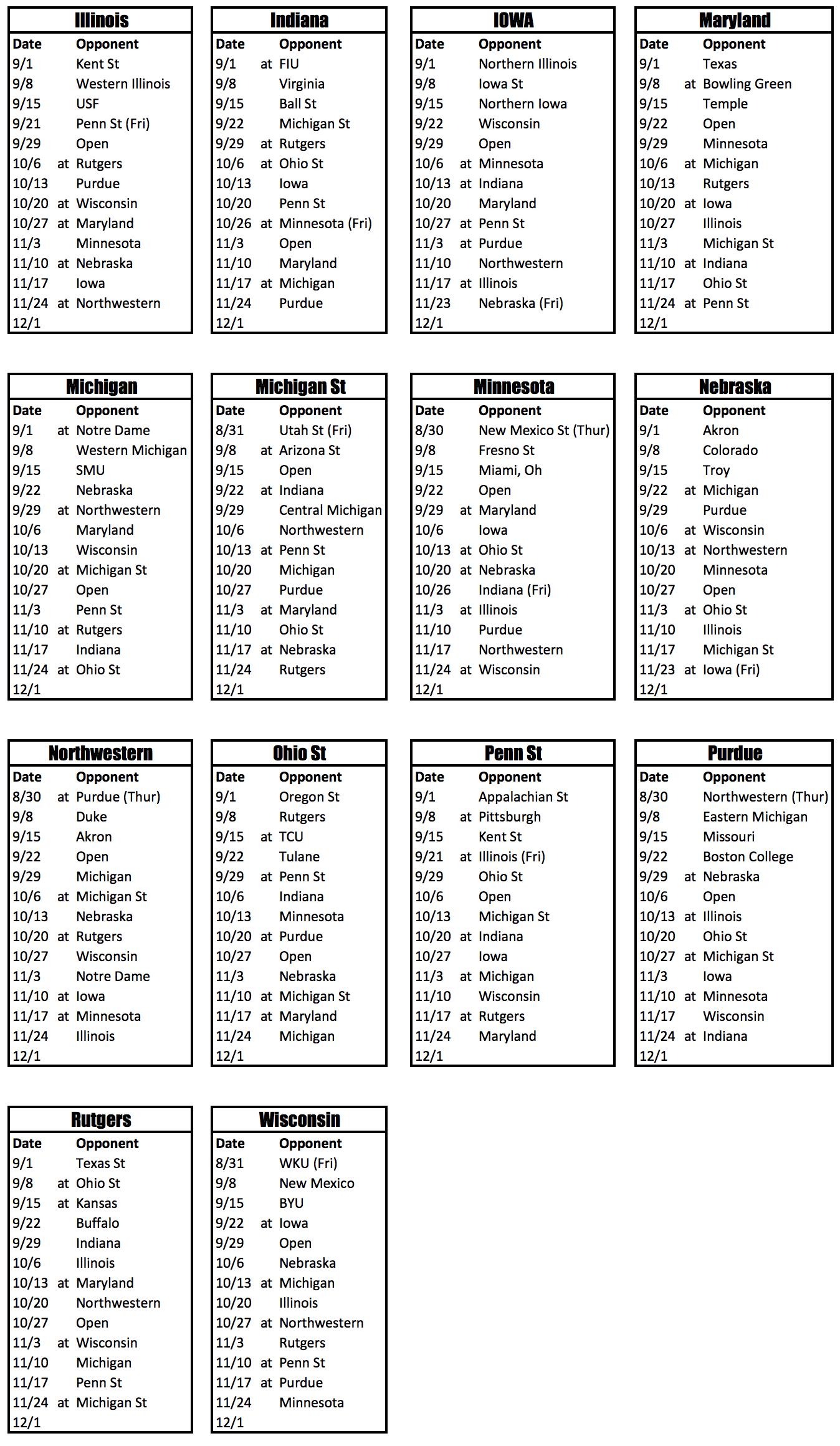 Big 10 Football Schedule 2019 Big Ten 2018 Football Schedules. – Phil Steele