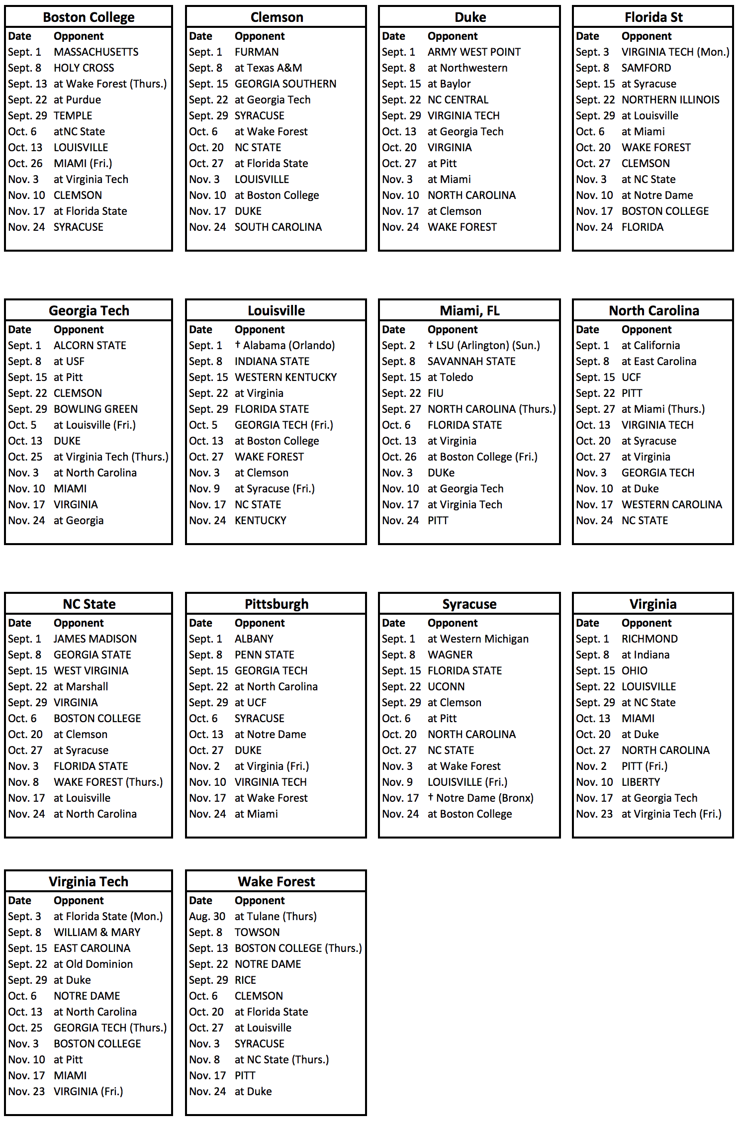 acc 2018 football schedules. – phil steele